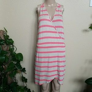 LA Made Pink and Grey Striped Summer Dress